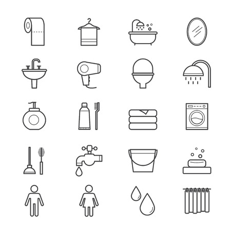personal care: Bathroom and Toilet Icons Line