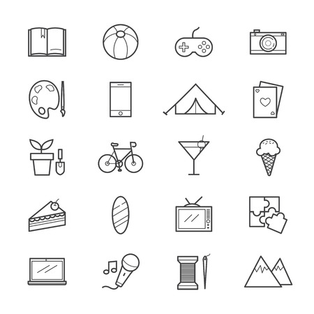 hobbies: Hobbies and Activities Icons Line Illustration
