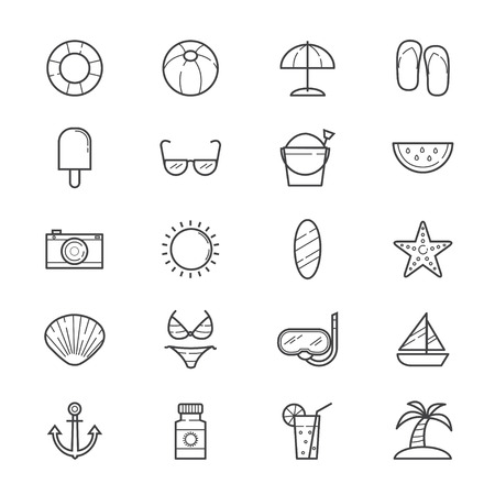 watermelon boat: Summer Relax and Beach Icons Line Illustration