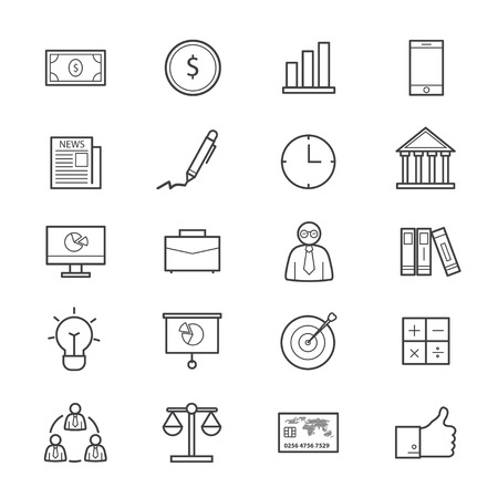 business finance: Business and Finance Icons Line Illustration