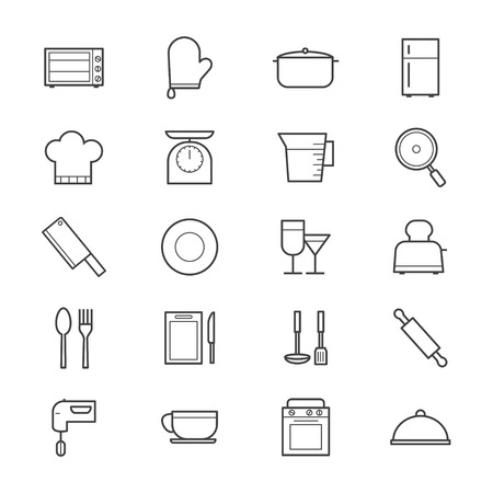 cooking utensil: Cooking and Kitchen Utensil Icons Line Illustration