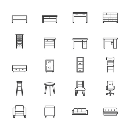 accessory: Furniture Office and Home Accessories Icons Line Illustration