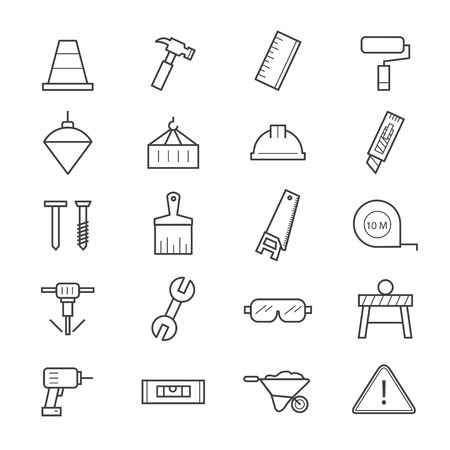 silicone gun: Construction Icons Line Illustration