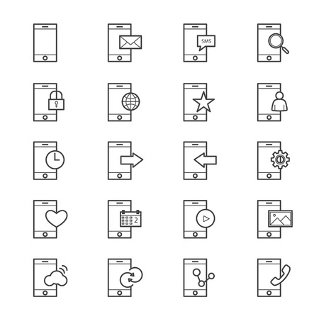 mobile device: Mobile Phone Device Icons Line Illustration