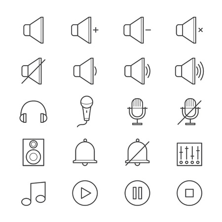 toolbar: Music and Media Icons Line