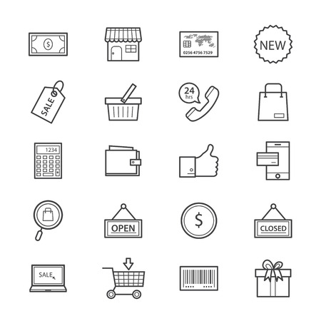 shopping icons: Shopping and Online Shopping Icons Line