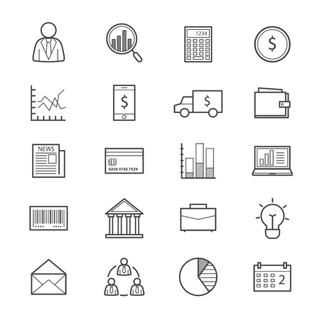 business finance: Business and Finance Money Icons Line Illustration