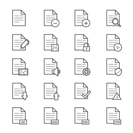 Document Icons Line Illustration