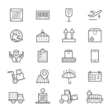 Logistics Icons Line Illustration