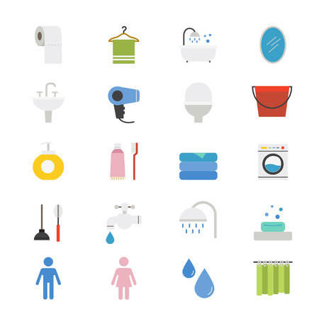 dry cleaner: Bathroom and Toilet Flat Icons color