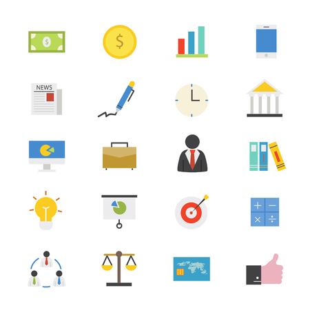 icono ordenador: Finanzas plana Los iconos de negocios y color