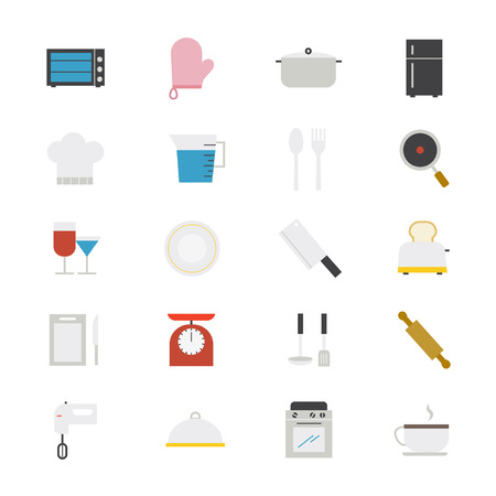 cooking utensils: Cooking and Kitchen Utensil Flat Icons color