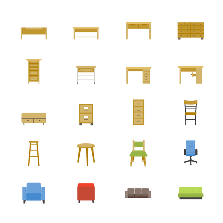 sideboard: Furniture Office and Home Accessories Flat Icons color
