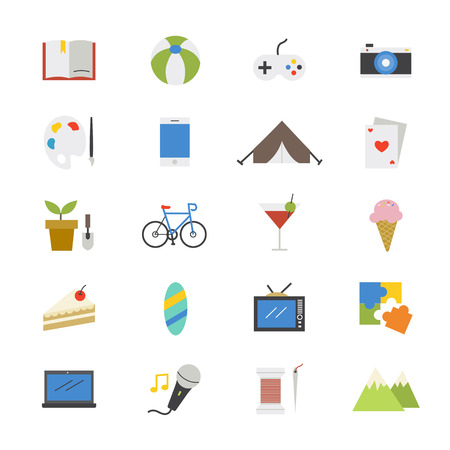 hobbies: Hobbies and Activities Flat Icons color