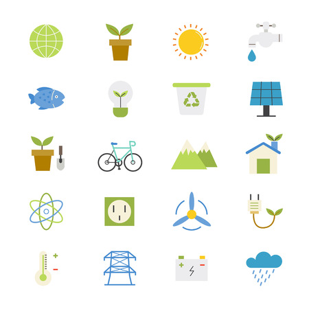 protection concept: Environmental and Green Energy Flat Icons color