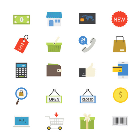 web store: Shopping and Online Shopping Flat Icons color