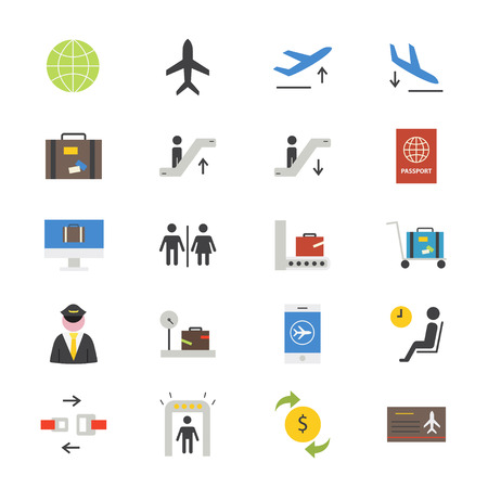 duty free: Airport Flat Icons color Illustration