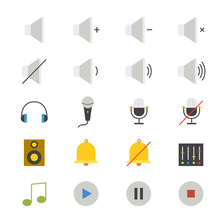 multimedia: Music and Media Flat Icons color Illustration