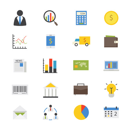 communication icons: Business and Finance Money Flat Icons color Illustration