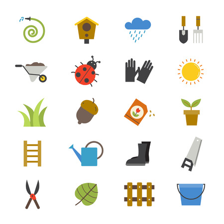 home garden: Garden Flat Icons color