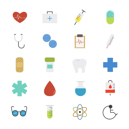 Health care and Medical Flat Icons color Illustration
