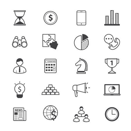 finance icons: Business and Finance Strategy Icons Line