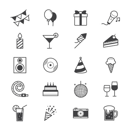 Celebration Party Icons Line