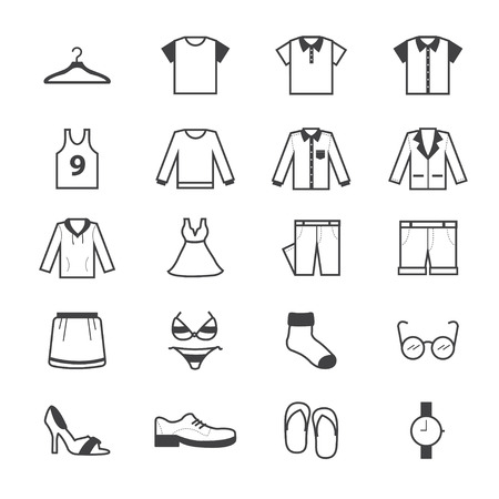 accessory: Clothing and Accessory Icons Line