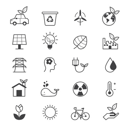 eco energy: Eco Energy and Environment Icons Line