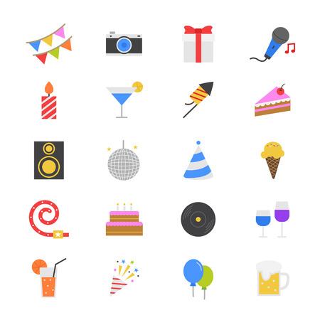 Partij van de Viering Flat Color Icons Stock Illustratie
