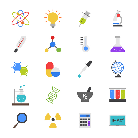 toxicology: Science and Medical Flat Color Icons Illustration