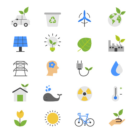 purification: Eco Energy and Environment Flat Color Icons Illustration