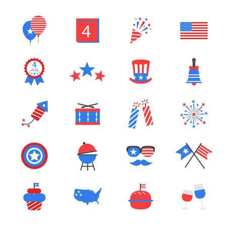 banderas americanas: Día de la Independencia de iconos de colores planos