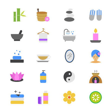 medical shower: Spa Flat Color Icons