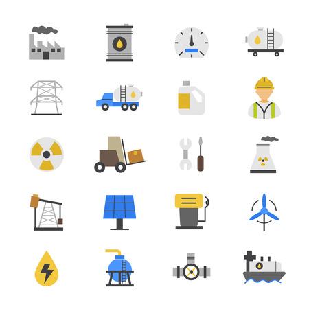electricidad industrial: Industy plana Los iconos de color de aceite y