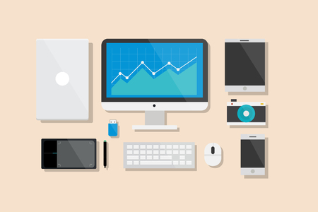 computer device: Computer and Electronic Device Flat Design Illustration Element Icons Set Illustration