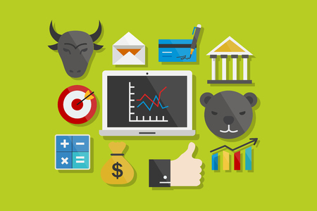 tagetes: Finance and Business Icons Flat Design Illustration Element Icons Set