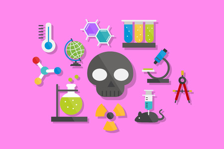 toxicology: Science and Chemistry Icons Flat Design Illustration Element Icons Set