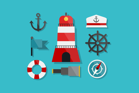 floater: Sea and Nautical Marine Icons Flat Design Illustration Element Icons Set Illustration