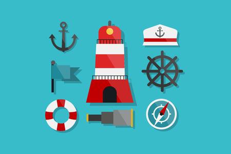 floater: Sea and Nautical Marine Icons Flat Design Illustration Element Icons Set Illustration