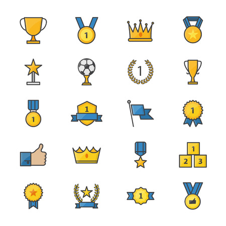 Award and Trophy Ribbon Best Set Of Winner Sport Abstract Vector Color Icon Style Colorful Flat Icons Illustration