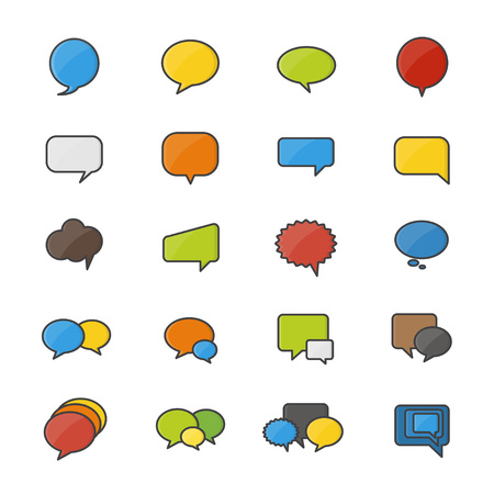 Speech Bubble Set Of Abstract Vector Color Icon Style Colorful Flat Icons