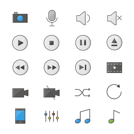 Symbols Control and Music Player Set Of Vector Color Icon Style Colorful Flat Icons