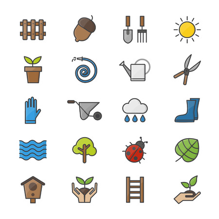 dug: Garden and Tools Color Icons Set Of Vector Colorful Flat Icon