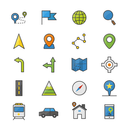Navigation and location Color Icons Set Of Vector Illustration Style Colorful Flat Icon