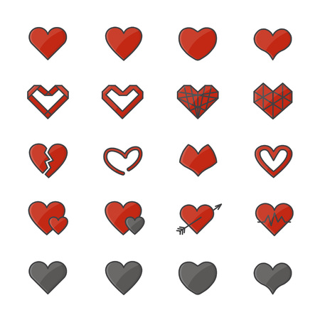 Red Heart Color Icons Set Of Vector Illustration Style Flat Icon Illustration