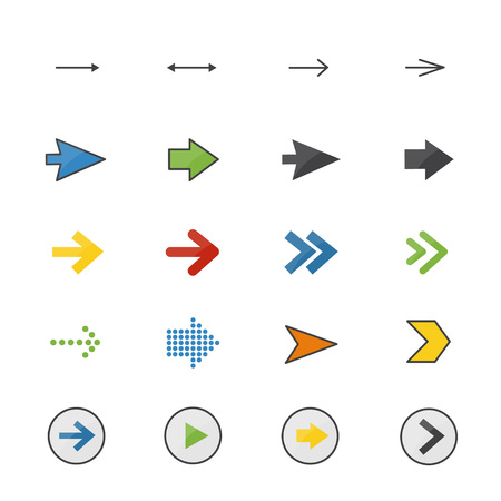 Arrow Color Icons Set Of Control Vector Illustration Style Colorful Flat Icon