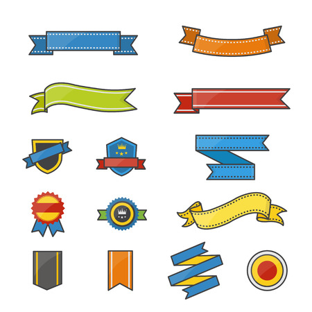 Banner and Ribbon Color Icons Set Of Vector Illustration Style Colorful Flat Icon
