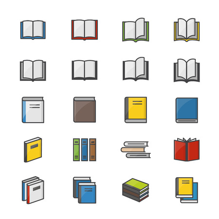 videobook: Book Color Icons Set Of Stationery Vector Illustration Style Colorful Flat Icon