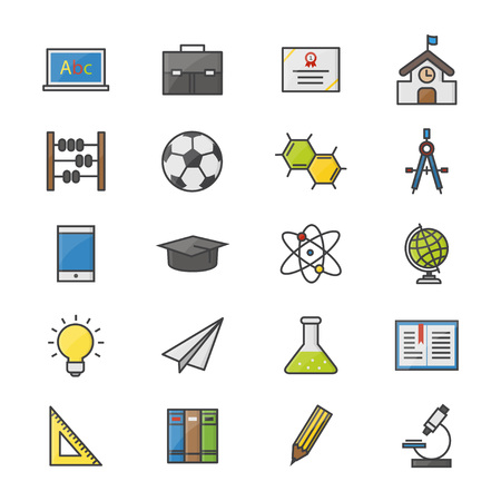 Education School and Science Color Icons Set Of Vector Illustration Style Colorful Flat Icon